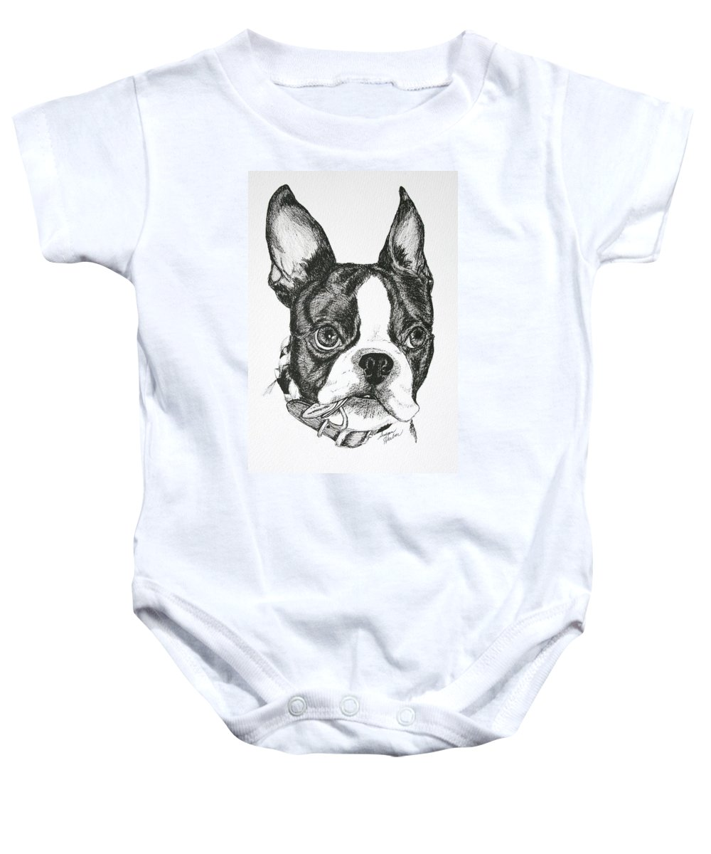 Boston Terrier Baby Onesie featuring the drawing Dog Tags by Susan Herber