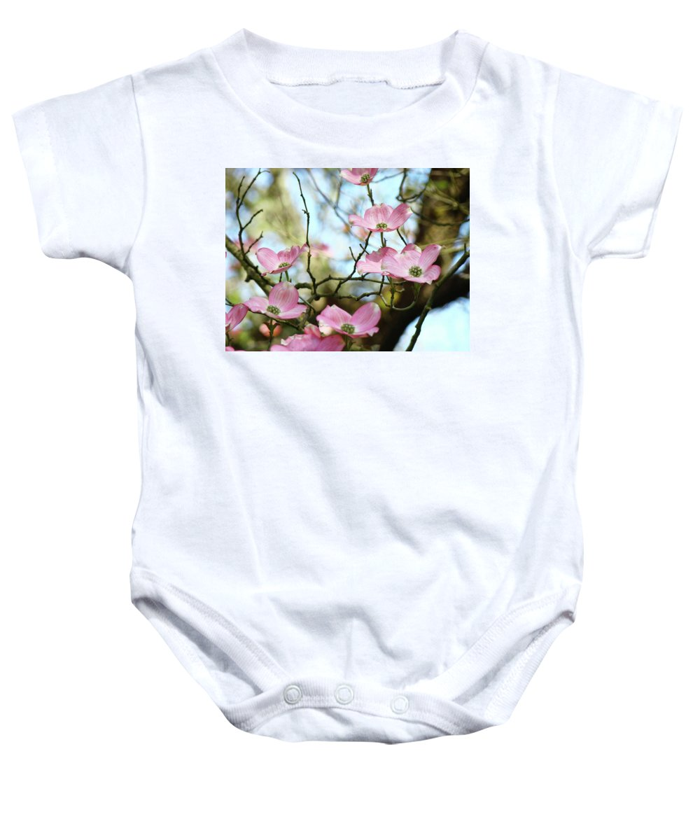 Dogwood Baby Onesie featuring the photograph Dogwood Flowers Pink Dogwood Tree Landscape 9 Giclee Art Prints Baslee Troutman by Baslee Troutman