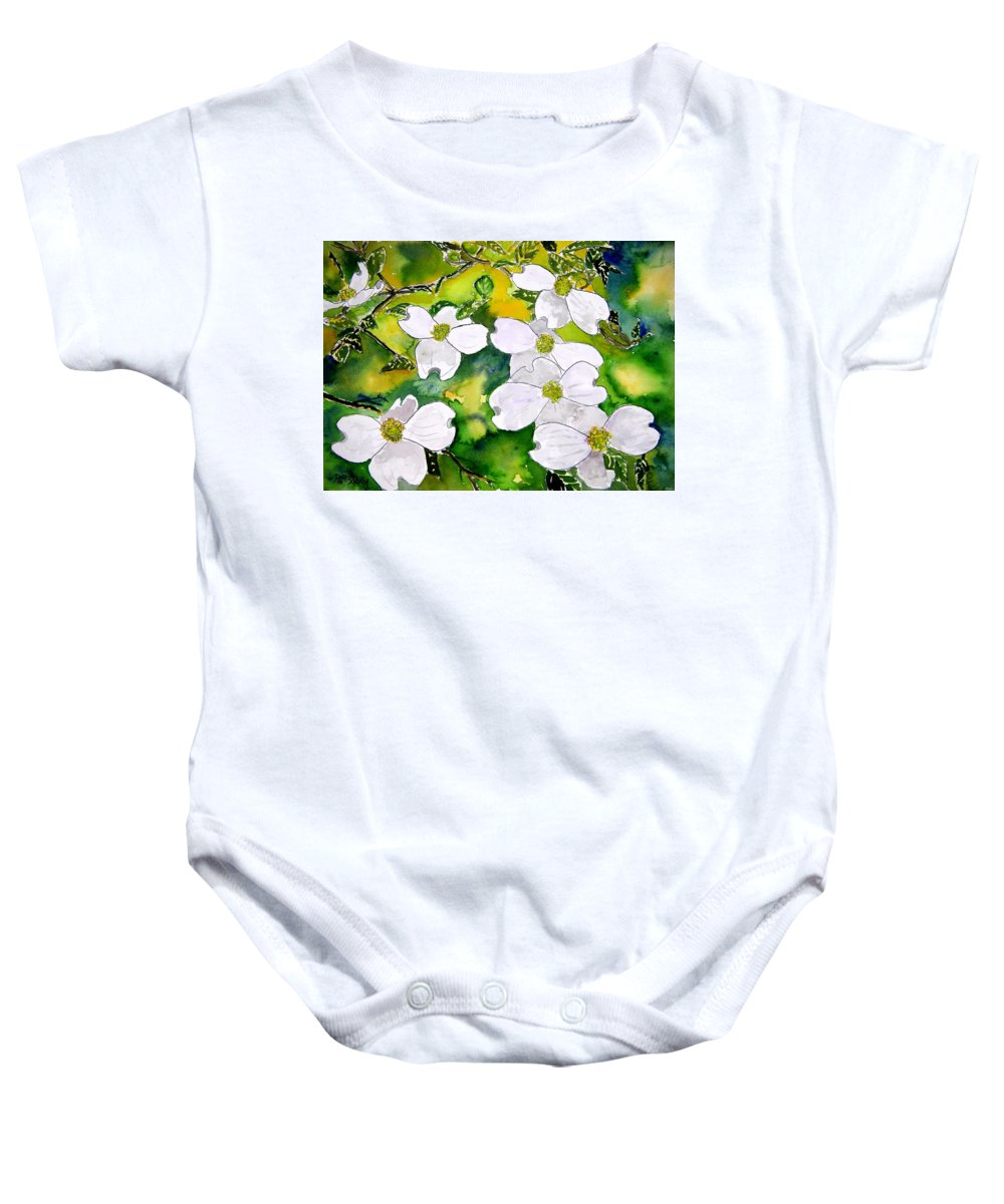 Dogwood Baby Onesie featuring the painting Dogwood Tree Flowers by Derek Mccrea