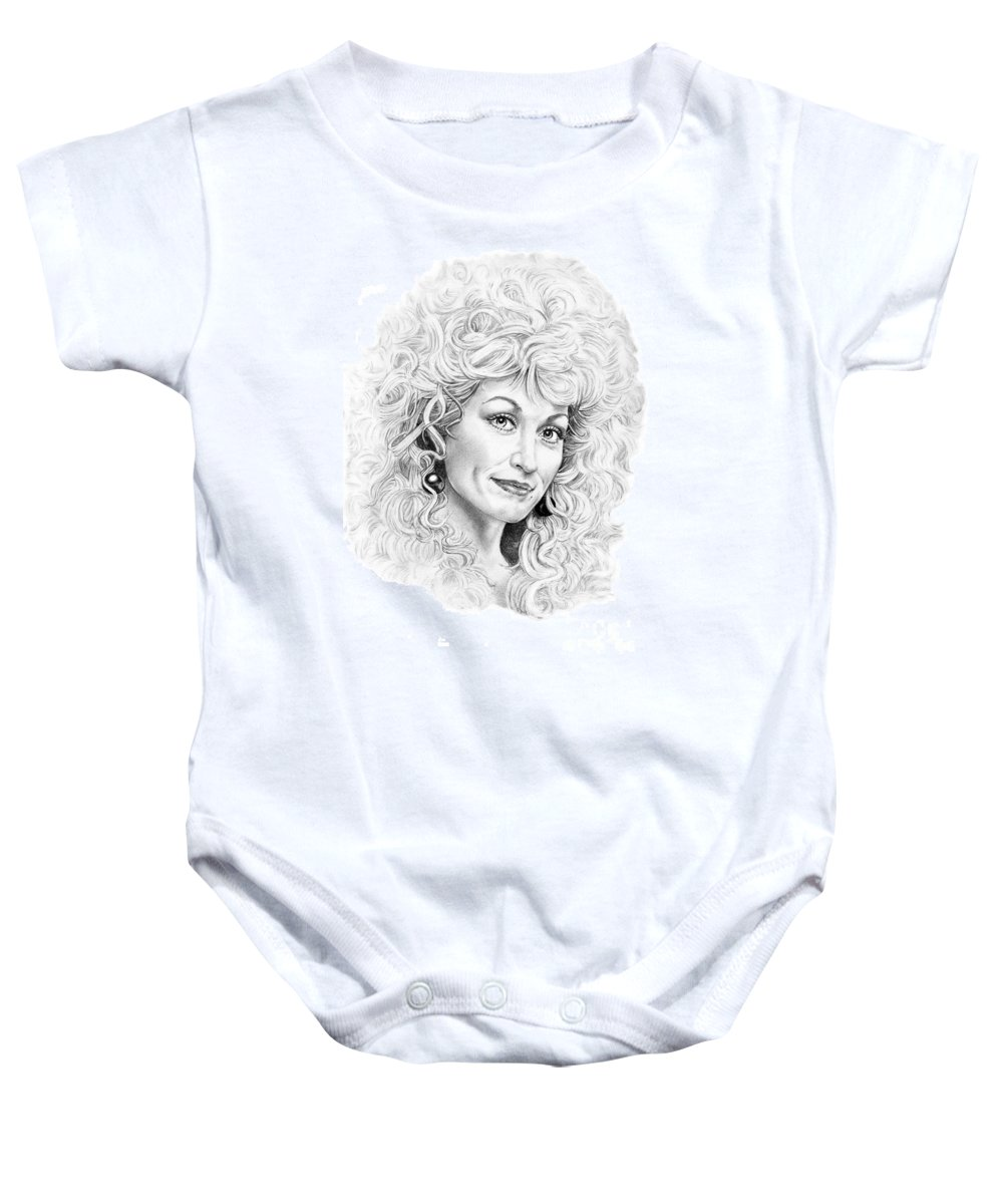 Portrait Baby Onesie featuring the drawing Dolly Parton by Murphy Elliott