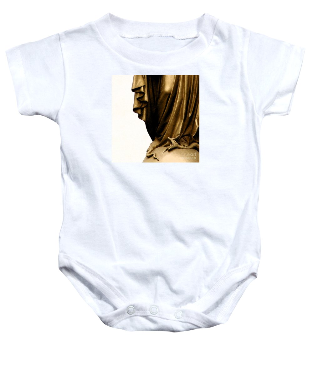 Statue Baby Onesie featuring the photograph Dominion Over The Serpent by Linda Shafer