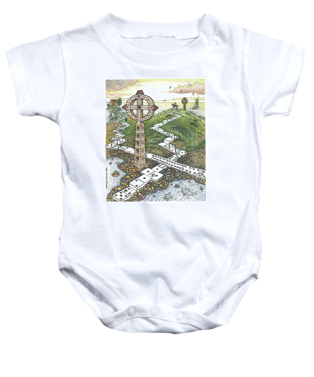 Landscape Baby Onesie featuring the drawing Domino Crosses by Bill Perkins