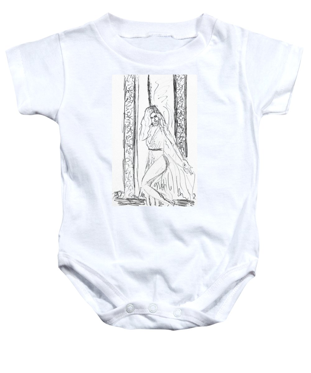 Sketch Baby Onesie featuring the drawing Doodleher by Donna Blackhall