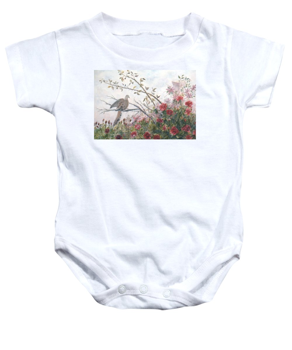 Dove; Roses Baby Onesie featuring the painting Dove And Roses by Ben Kiger
