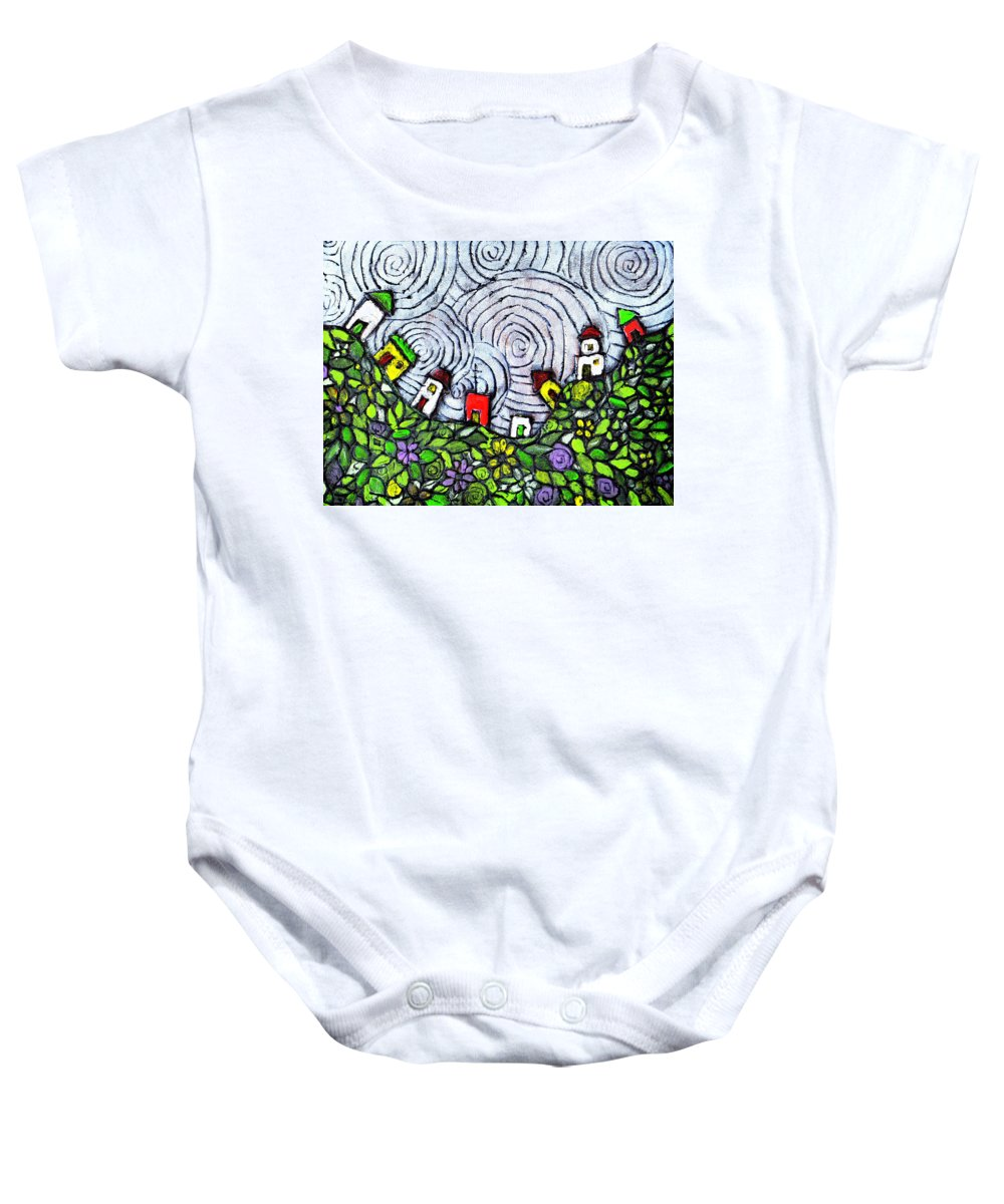 Folk Art Baby Onesie featuring the painting Down In The Valley by Wayne Potrafka