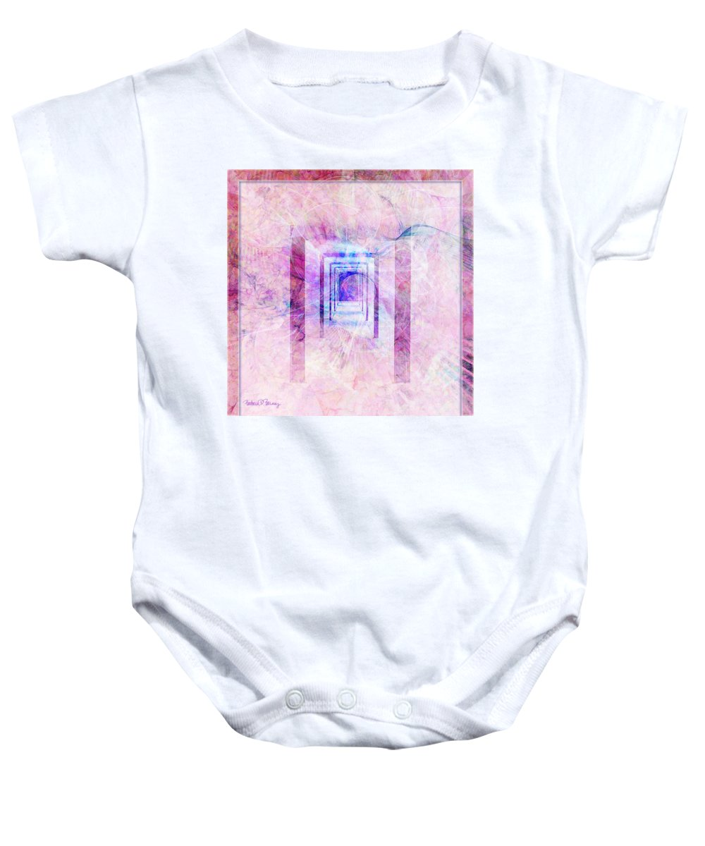Pink Baby Onesie featuring the digital art Down The Hall by Barbara Berney