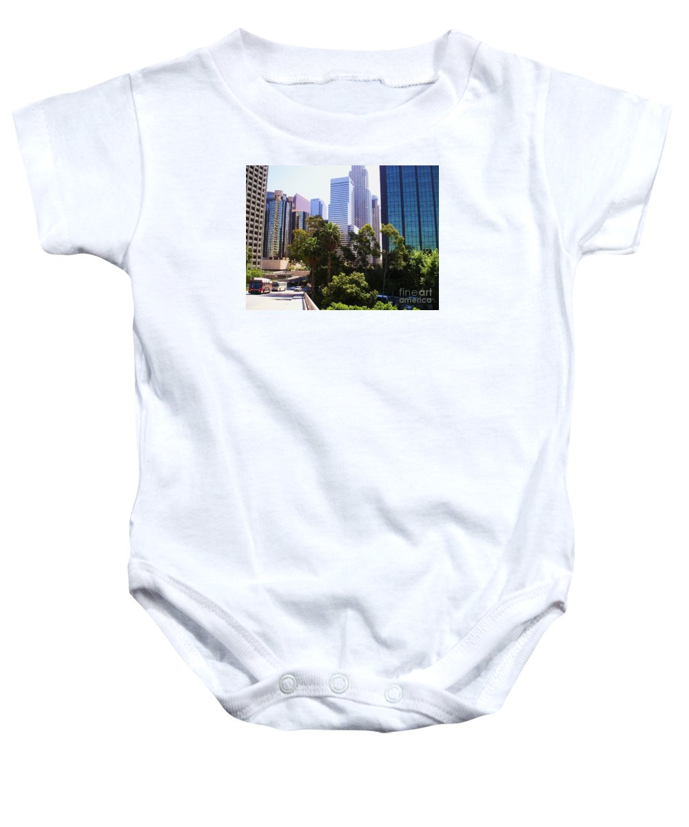 Downtown Los Angeles Baby Onesie featuring the photograph Downtown Los Angeles. 6th Street by Sofia Metal Queen
