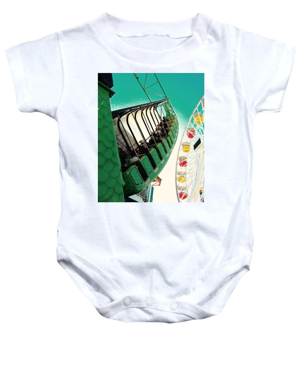 Amusement Park Baby Onesie featuring the photograph Dragon Swing by Sara Graham-Costain