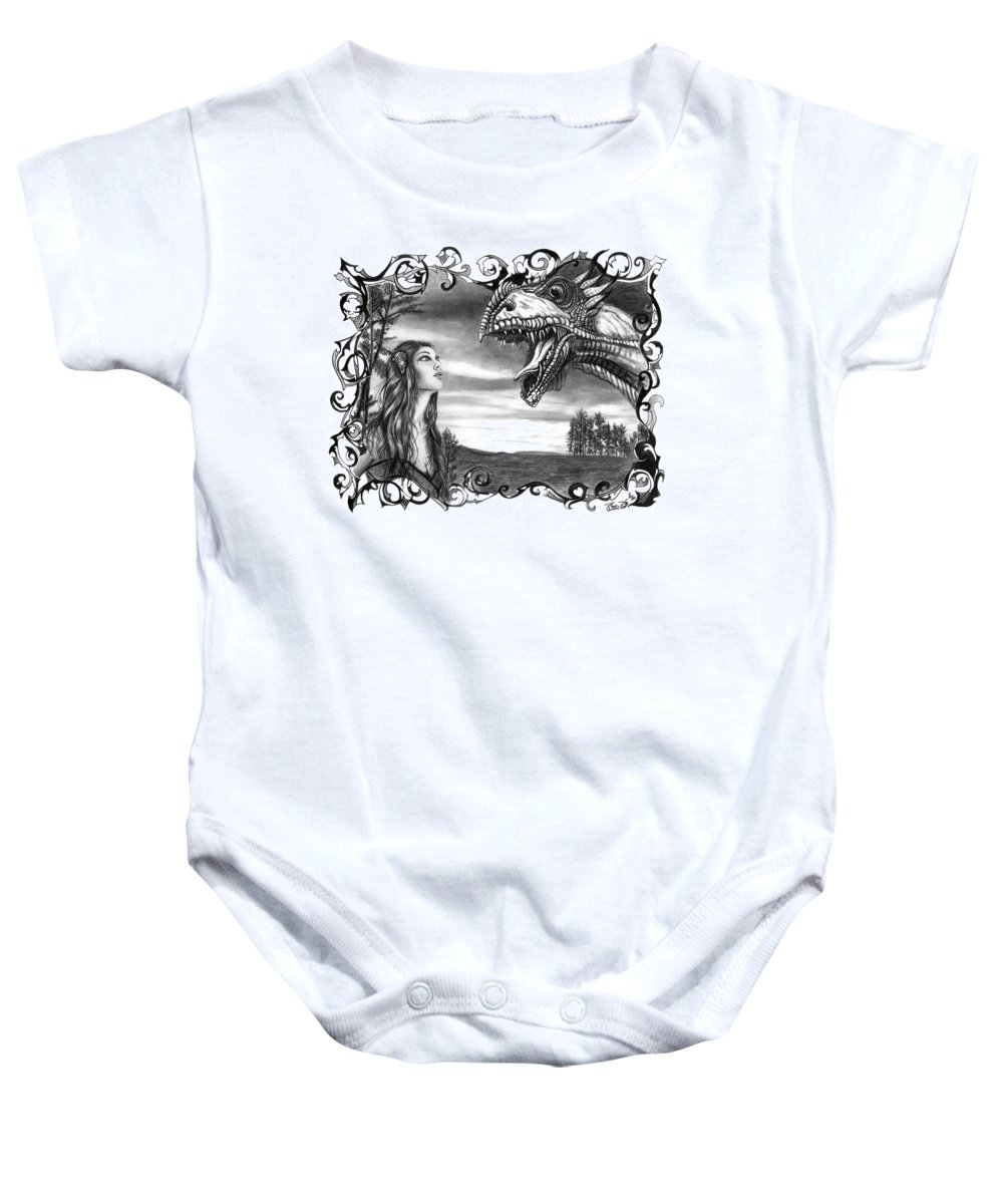 Dragon Whisperer Baby Onesie featuring the drawing Dragon Whisperer by Peter Piatt