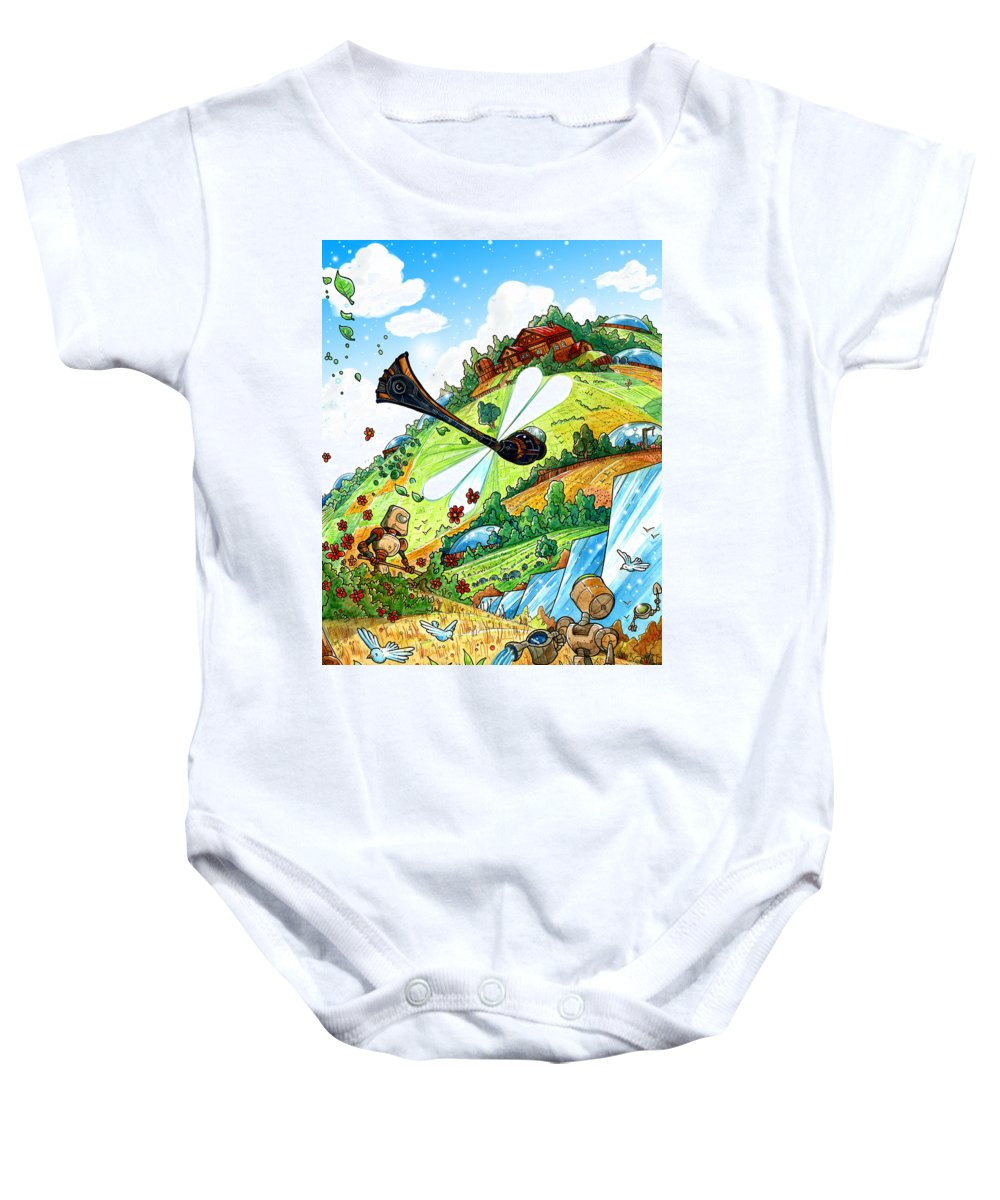 Robots Baby Onesie featuring the painting Dragonfly by Luis Peres