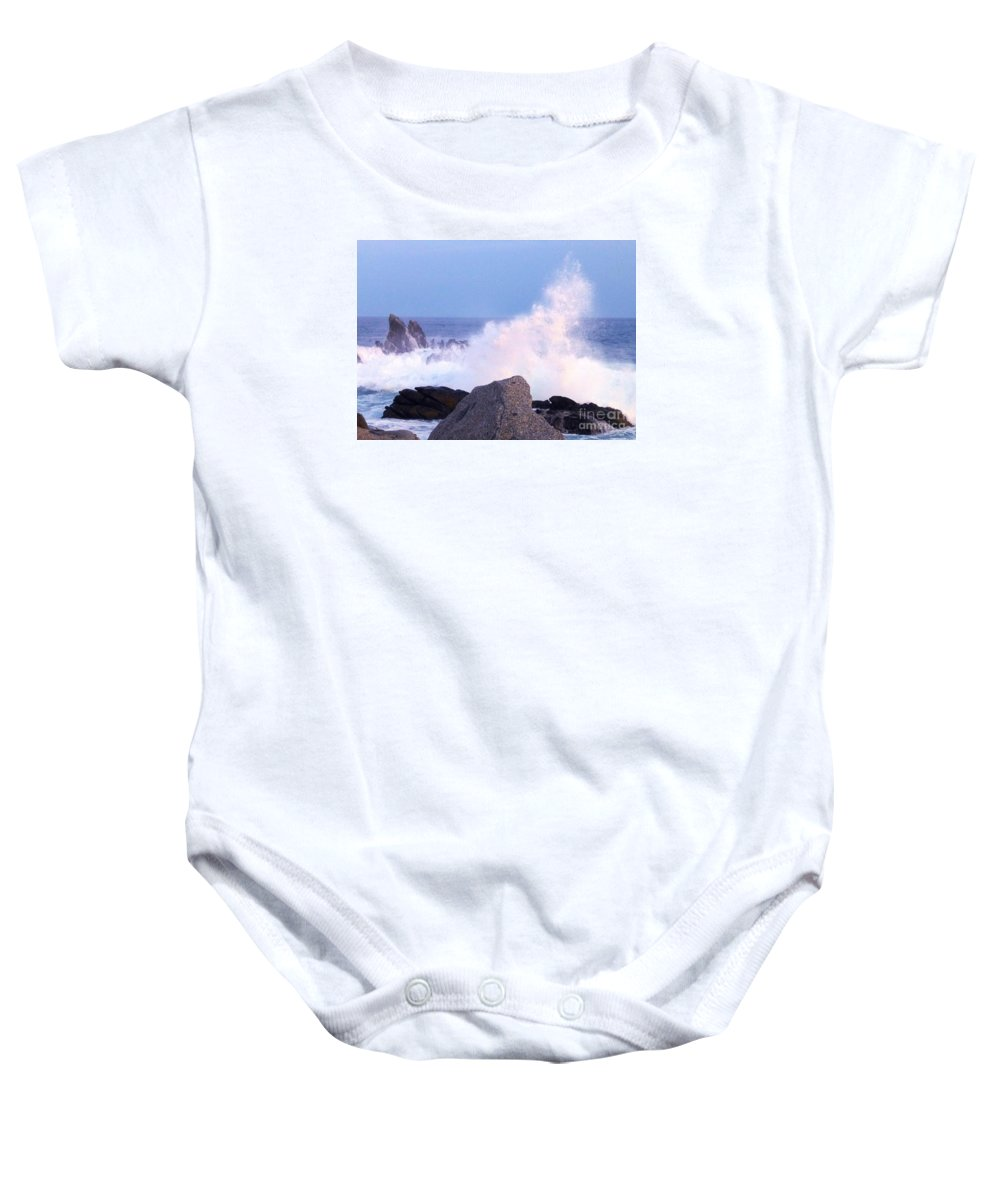 Waves Baby Onesie featuring the photograph Drama Of The Rocky Shore by Barbie Corbett-Newmin