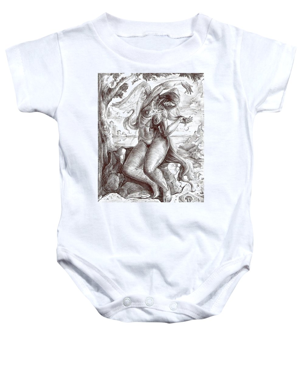 Surrealism Baby Onesie featuring the drawing Drawing 13 by Darwin Leon