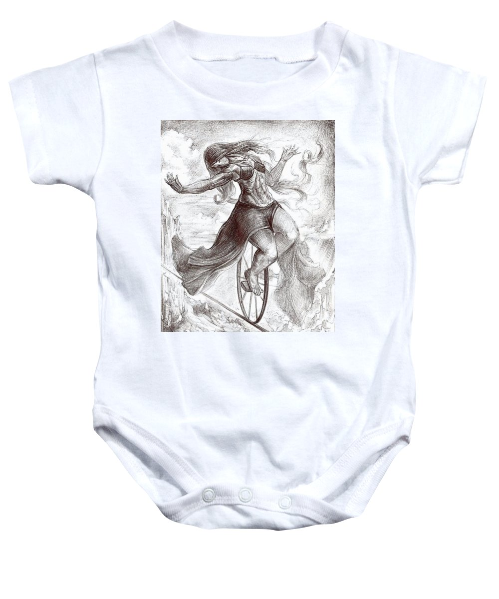 Surrealism Baby Onesie featuring the drawing Drawing 14 by Darwin Leon