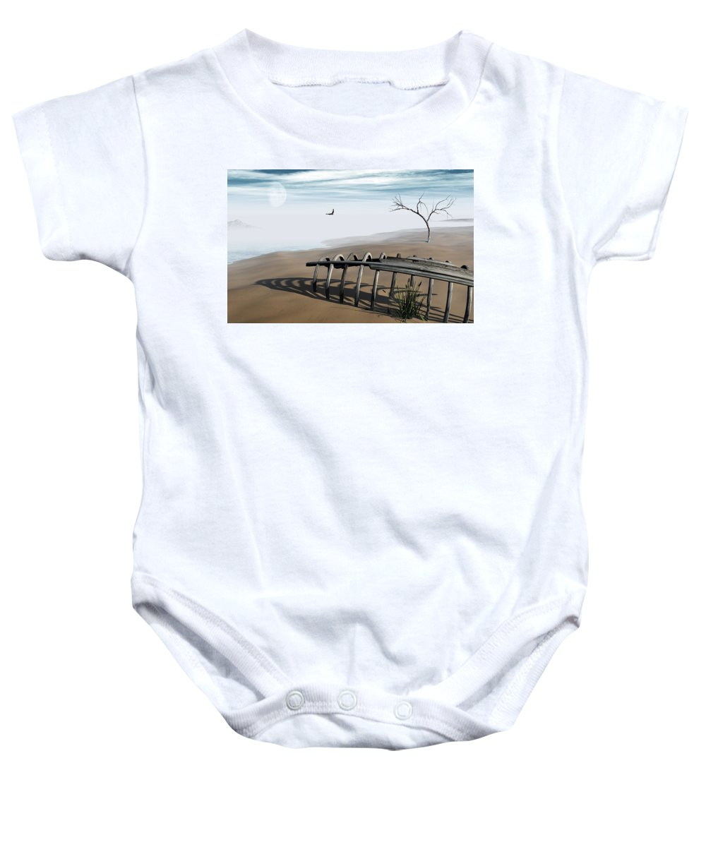 Surreal Baby Onesie featuring the digital art Dream Lake by Richard Rizzo