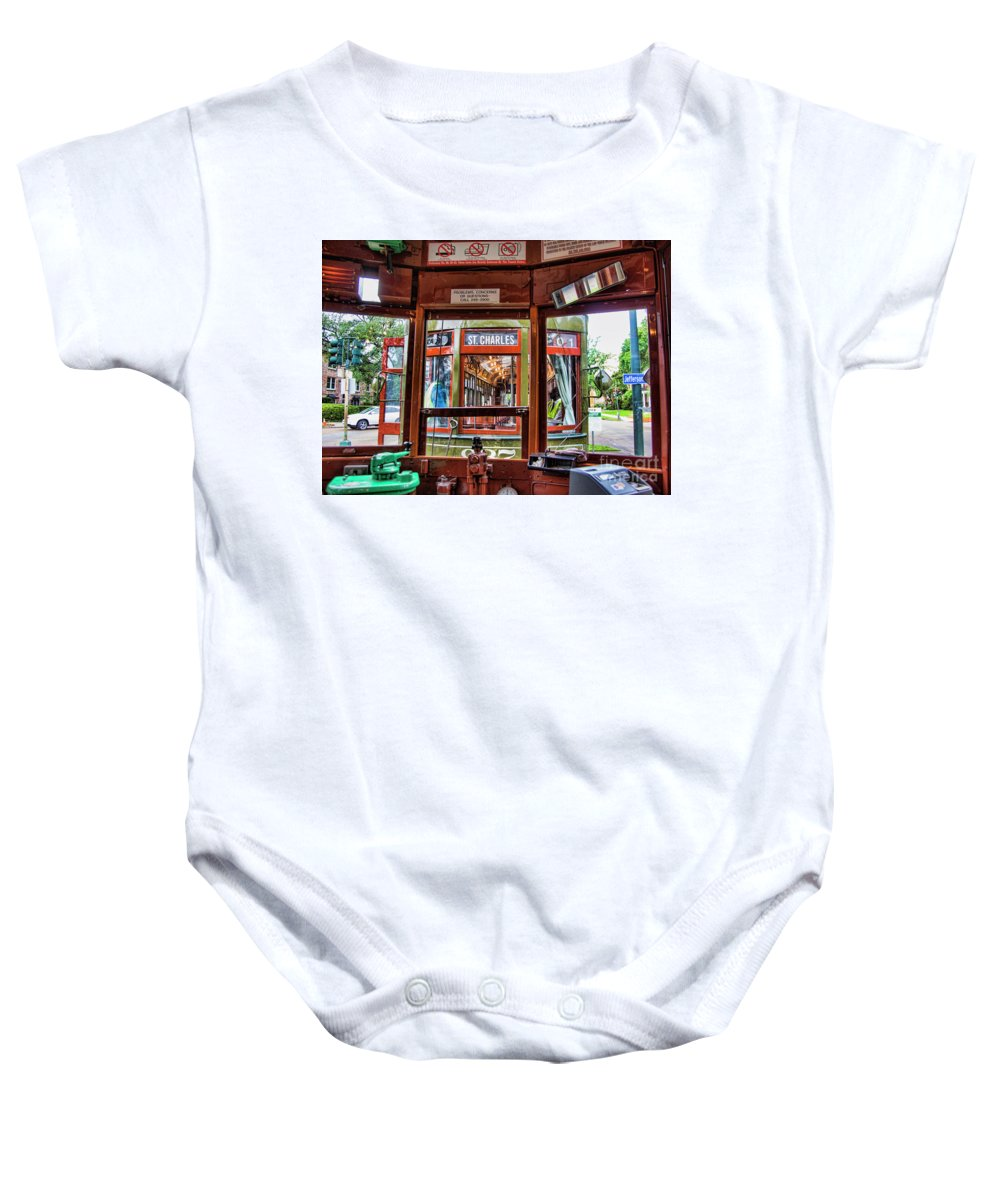 Streetcar Baby Onesie featuring the photograph Driver St. Charles Trolley New Orleans by Chuck Kuhn