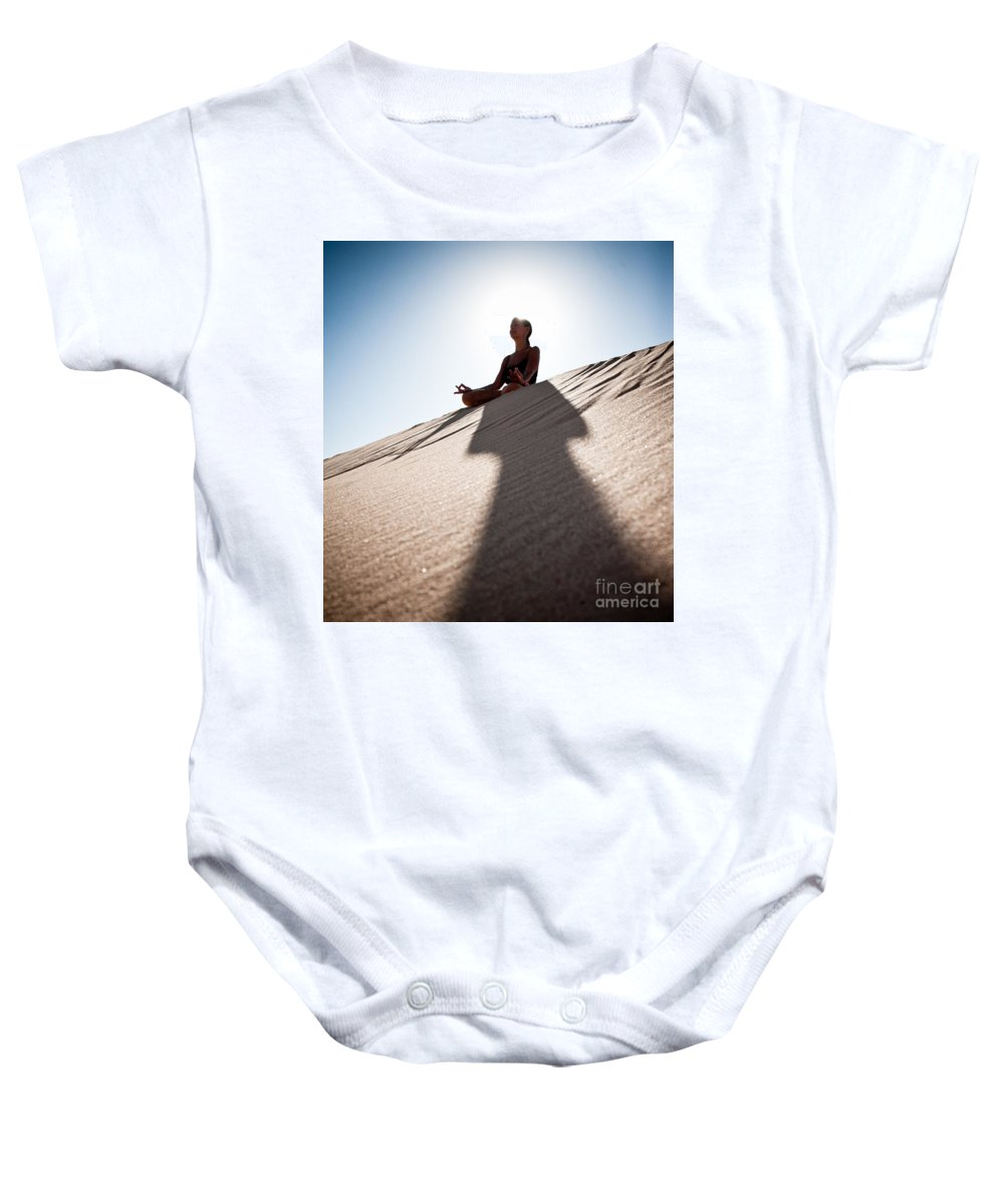 Yoga Baby Onesie featuring the photograph Dry Meditation by Scott Sawyer
