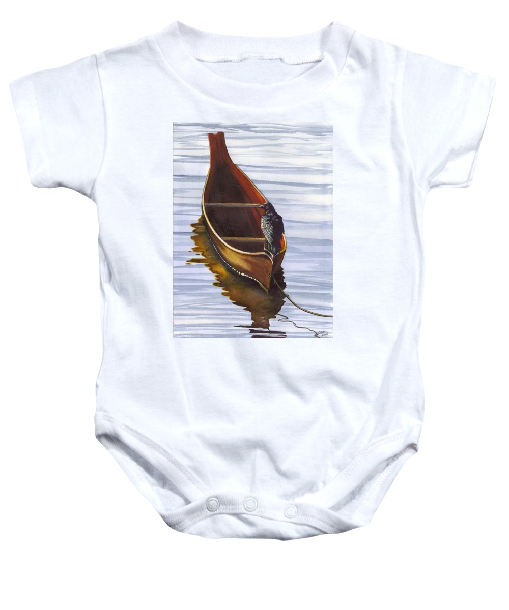 Dugout Baby Onesie featuring the painting Dugout by Catherine G McElroy