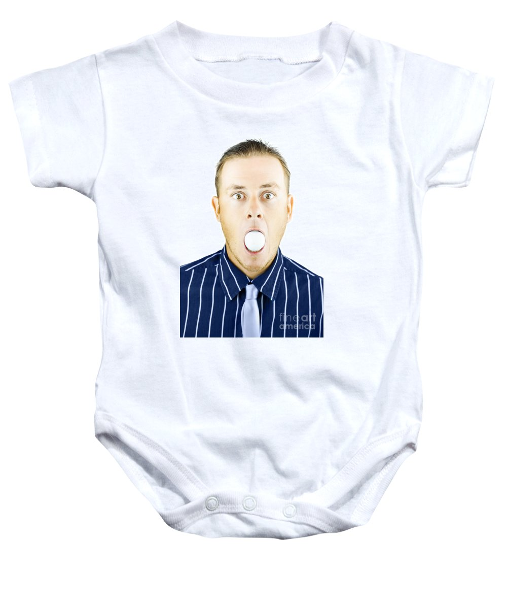 Aghast Baby Onesie featuring the photograph Dumbfounded Man Silenced By A Golf Ball by Jorgo Photography - Wall Art Gallery