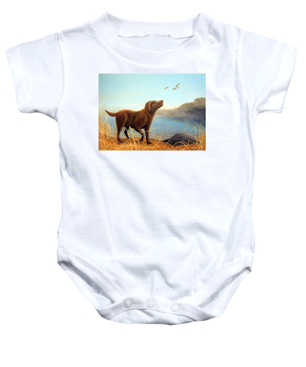 Chocolate Lab Painting Baby Onesie featuring the Dutch by Rick Huotari