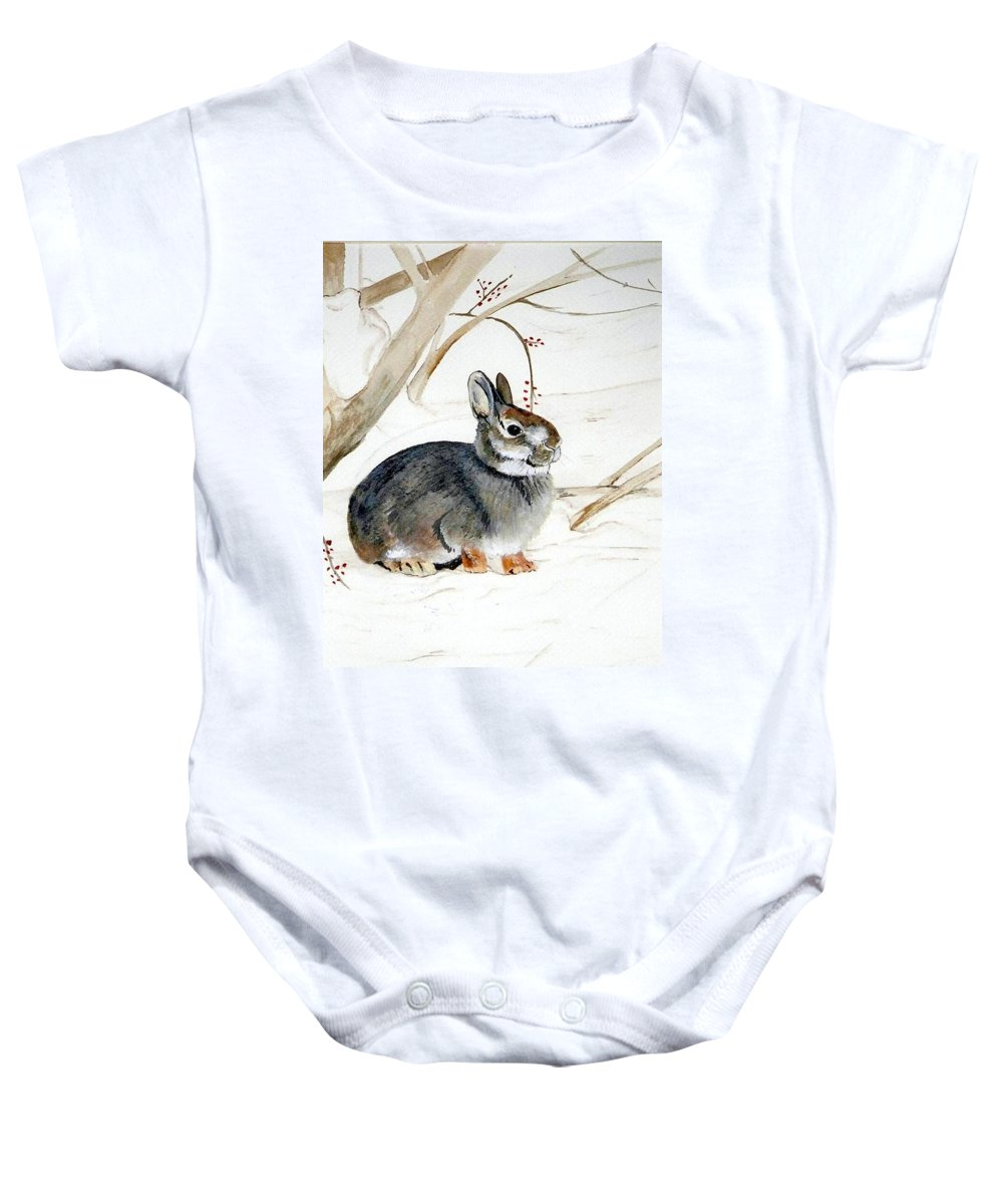 Rabbit Baby Onesie featuring the painting Early Snow by Debra Sandstrom
