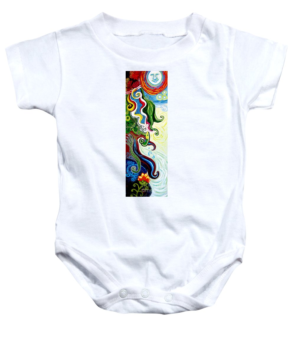Mother Earth Baby Onesie featuring the painting Earths Tears by Genevieve Esson