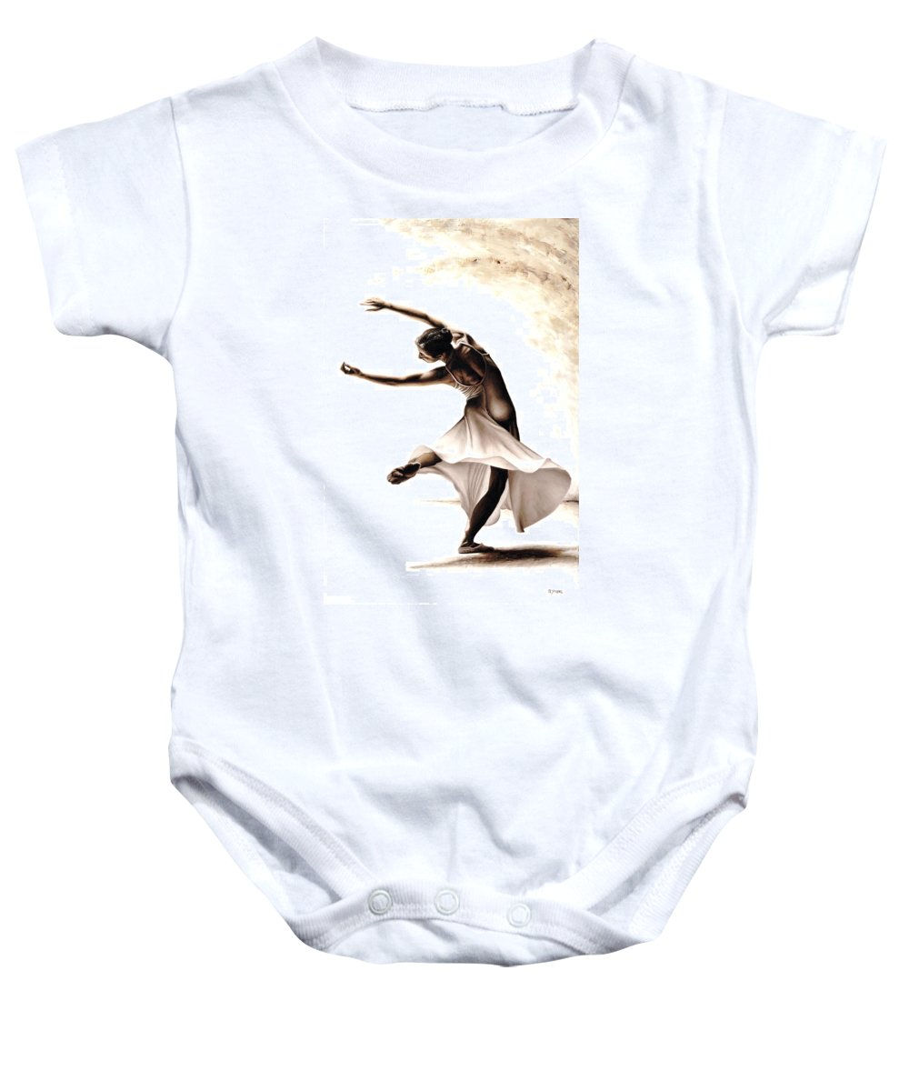 Dancer Baby Onesie featuring the painting Eclectic Dancer by Richard Young
