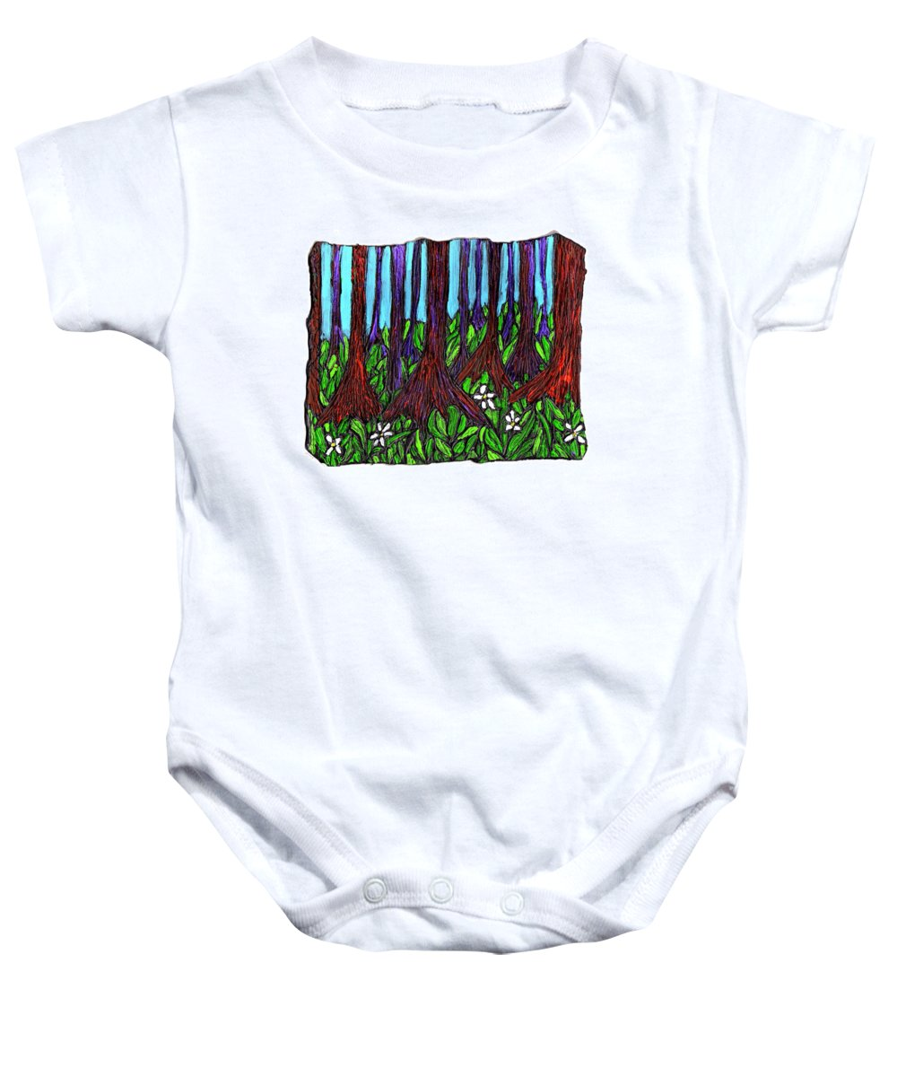 Trees Baby Onesie featuring the painting Edge Of The Swamp by Wayne Potrafka