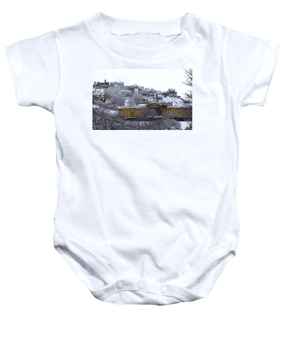 Scotland Baby Onesie featuring the photograph Edinburgh Castle And National Galleries Of Scotland In Winter by Heather Lennox