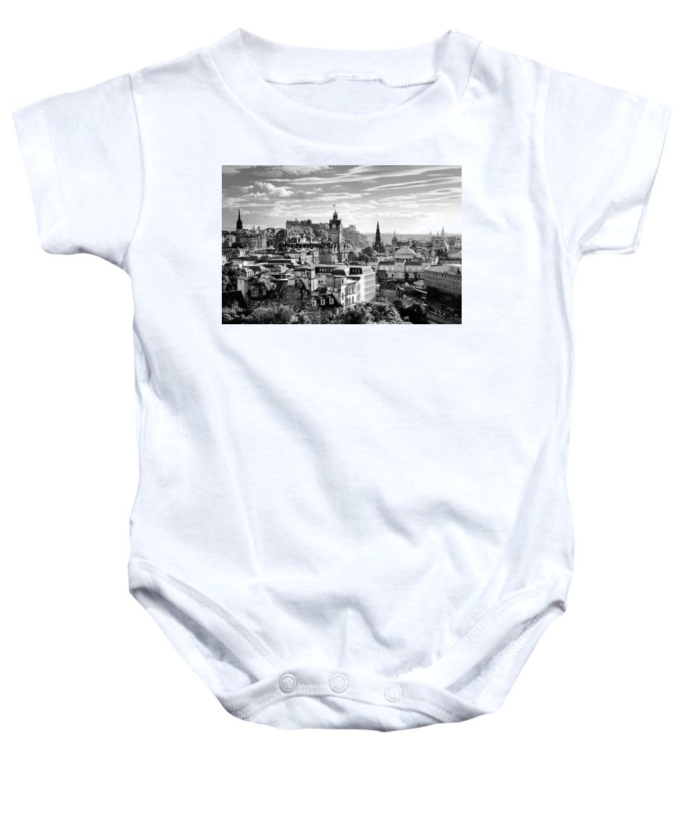 Edinburgh Baby Onesie featuring the photograph Edinburgh From Calton Hill.  Black And White by David Lyons