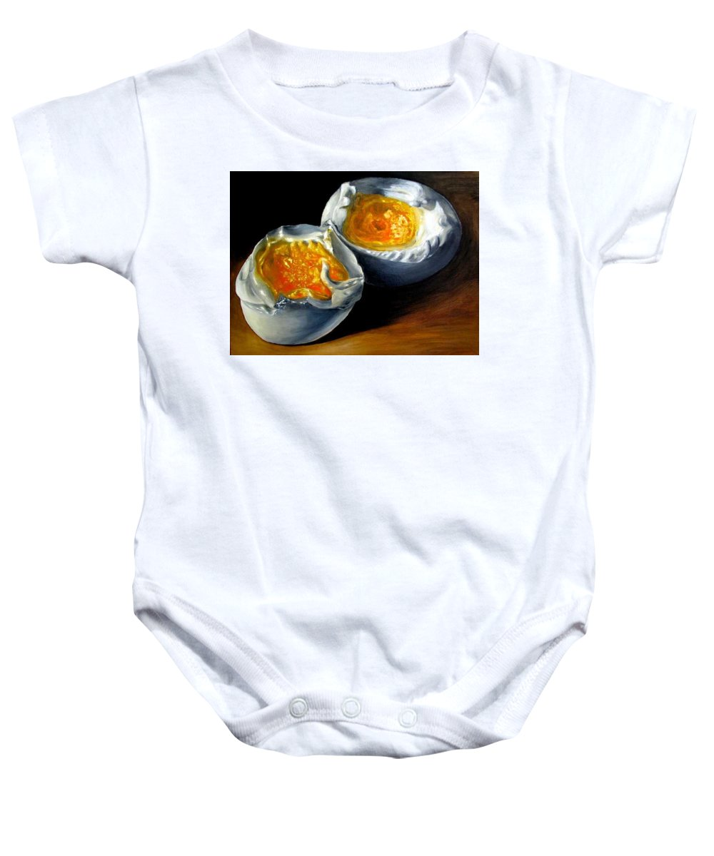 Eggs Baby Onesie featuring the painting Eggs Contemporary Oil Painting On Canvas by Natalja Picugina
