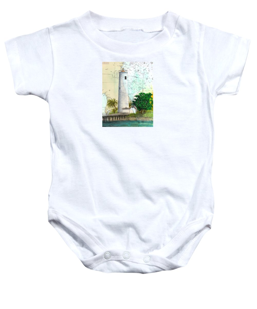 Egmont Baby Onesie featuring the painting Egmont Key Lighthouse Fl Nautical Map by Cathy Peek
