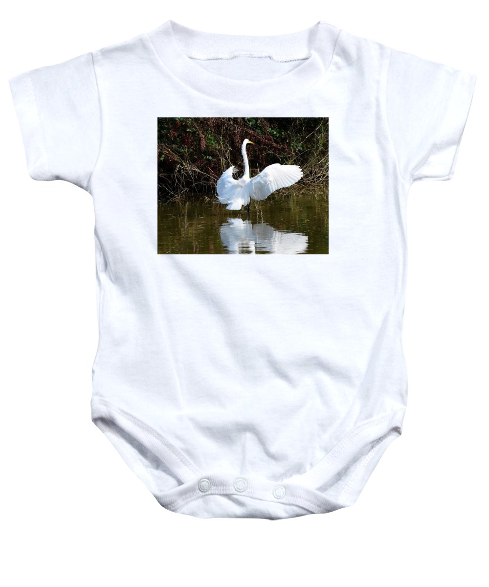 Great Baby Onesie featuring the photograph Egret by Dwight Eddington