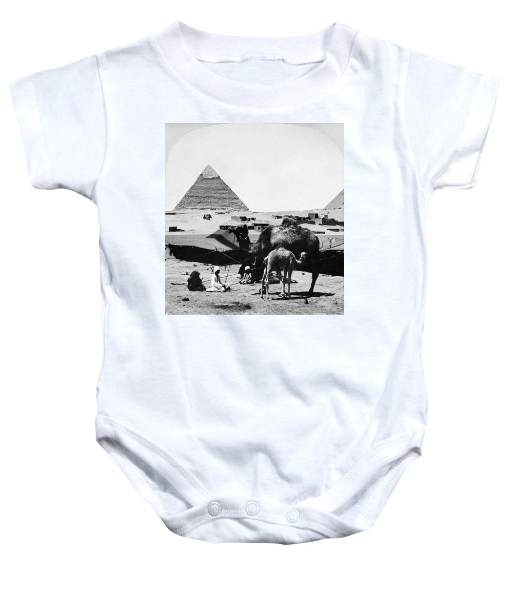 1899 Baby Onesie featuring the photograph Egypt: Camel & Baby, C1899 by Granger