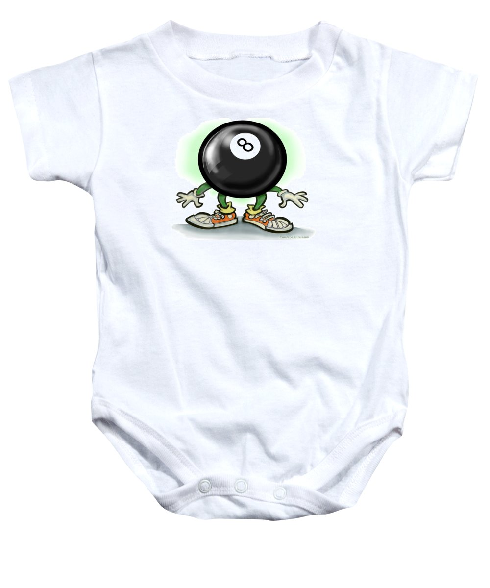 Eightball Baby Onesie featuring the greeting card Eightball by Kevin Middleton