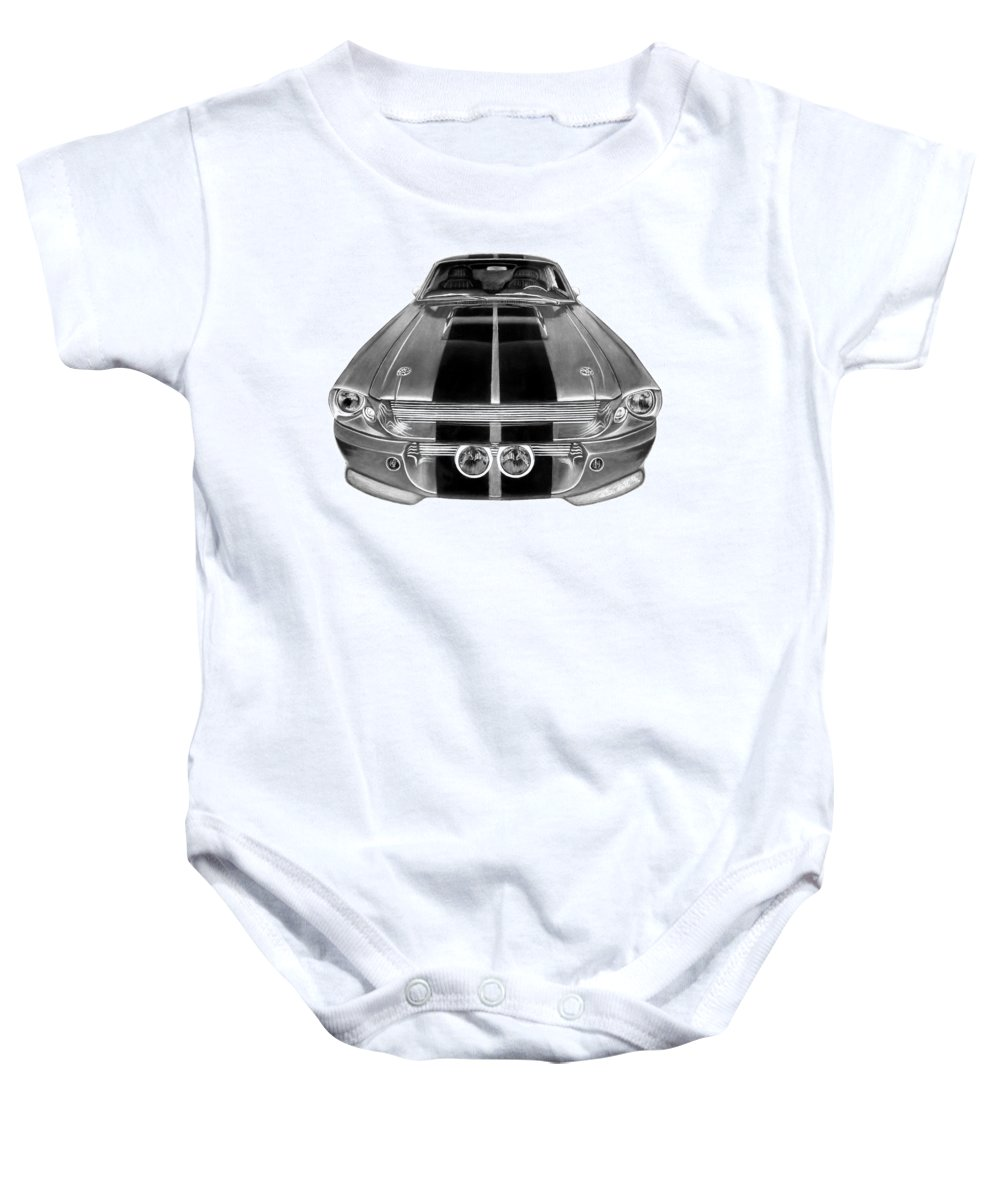 Eleanor Inverted Baby Onesie featuring the drawing Eleanor Ford Mustang by Peter Piatt