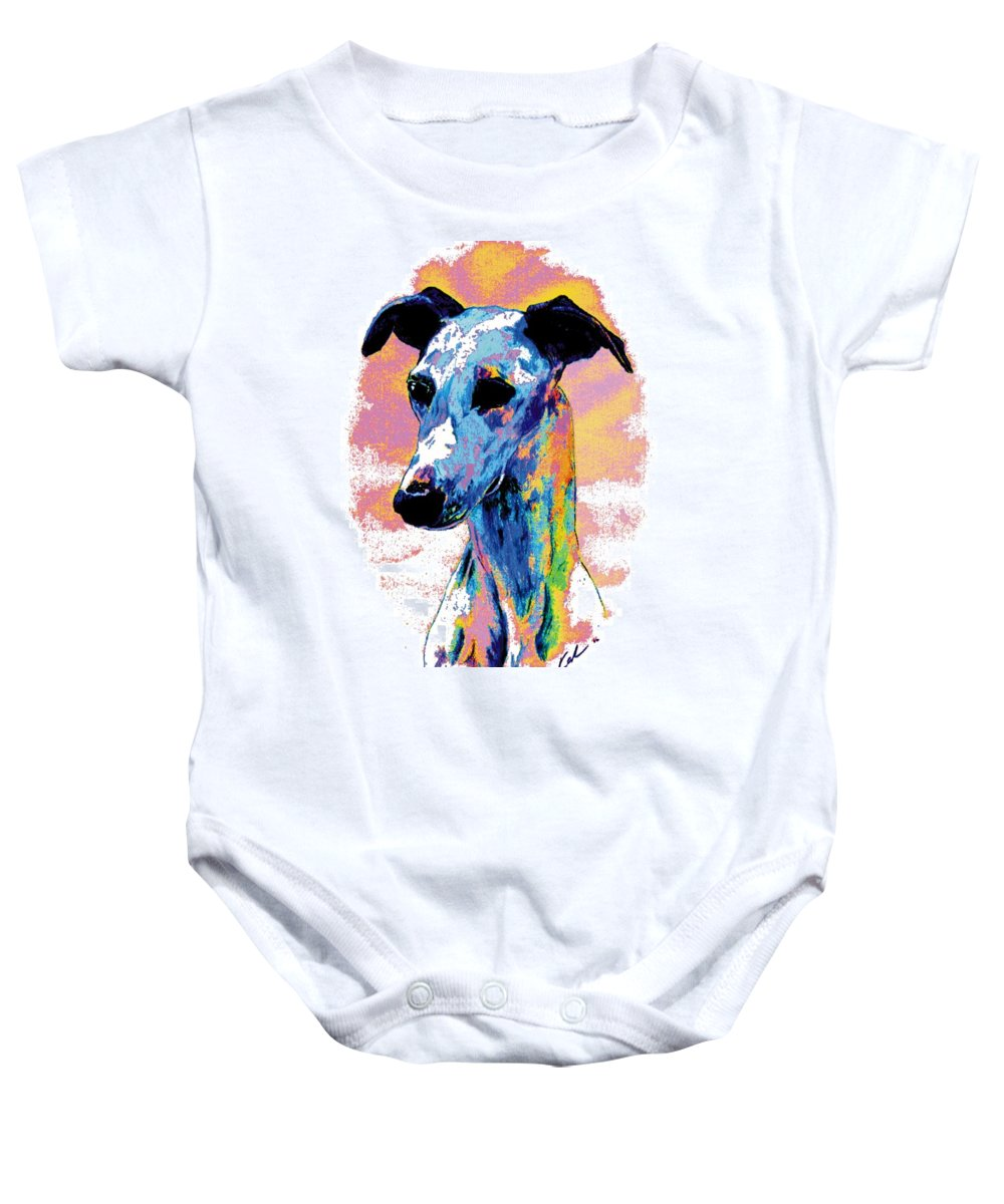 Electric Whippet Baby Onesie featuring the digital art Electric Whippet by Kathleen Sepulveda