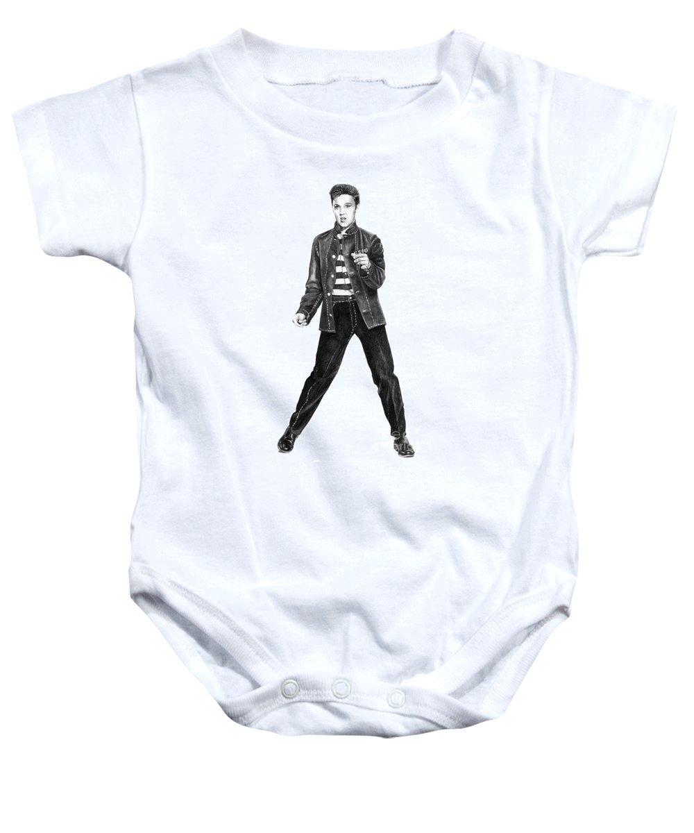 Elvis Baby Onesie featuring the drawing Elvis Presley  by Murphy Elliott