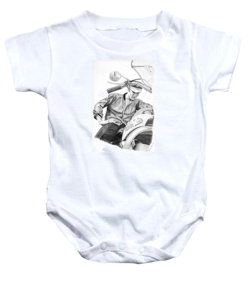 Singer Baby Onesie featuring the drawing Elvis Presley by Rob De Vries
