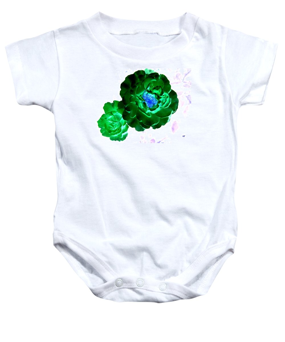 Rose Baby Onesie featuring the digital art Emerald Rose by Will Borden
