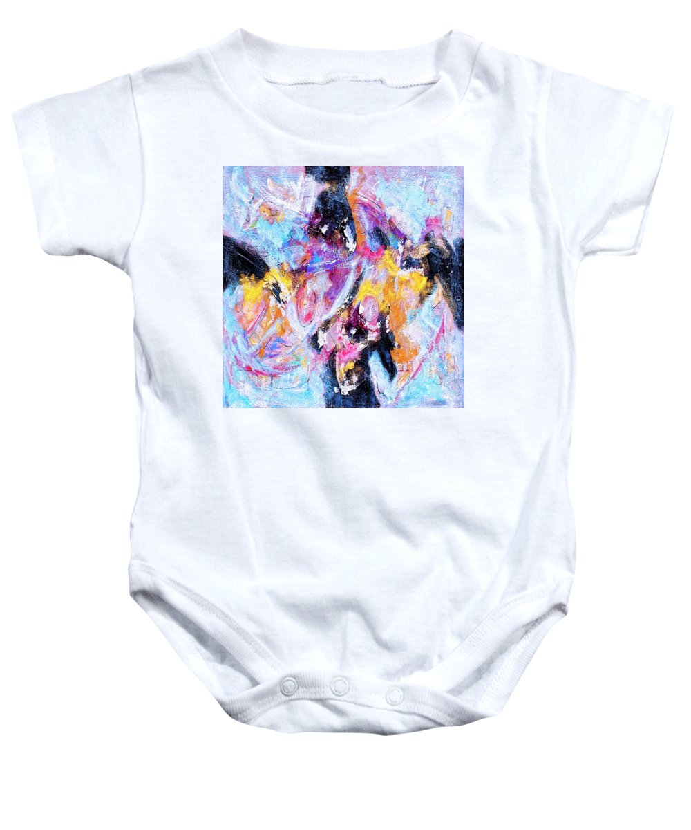 Abstract Baby Onesie featuring the painting Emergent by Dominic Piperata