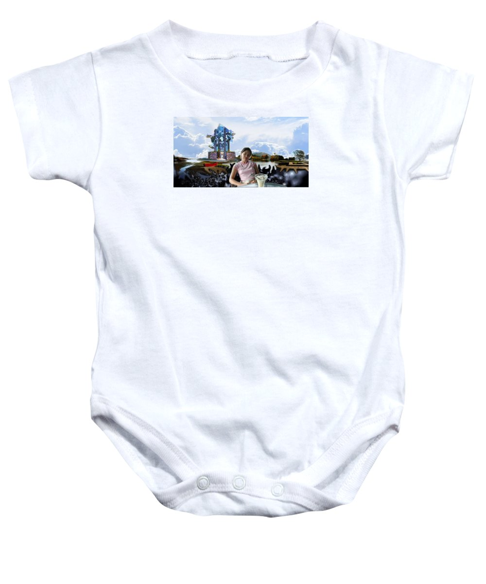 Spacem Maine Baby Onesie featuring the digital art Emma's Afternoon Snack by Dave Martsolf