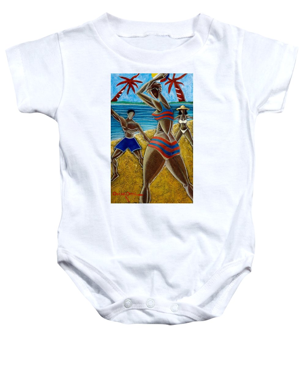 Beach Baby Onesie featuring the painting En Luquillo Se Goza by Oscar Ortiz