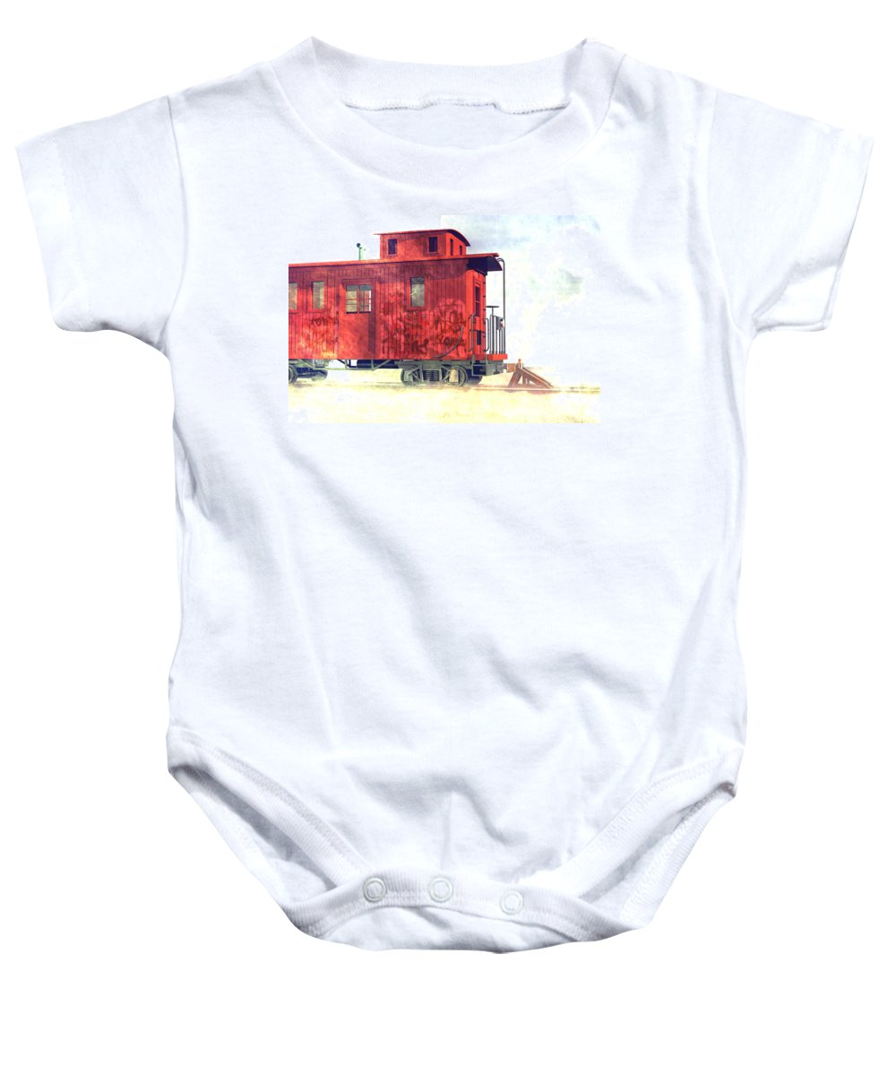 Abandoned Baby Onesie featuring the digital art End Of The Line by Carol and Mike Werner