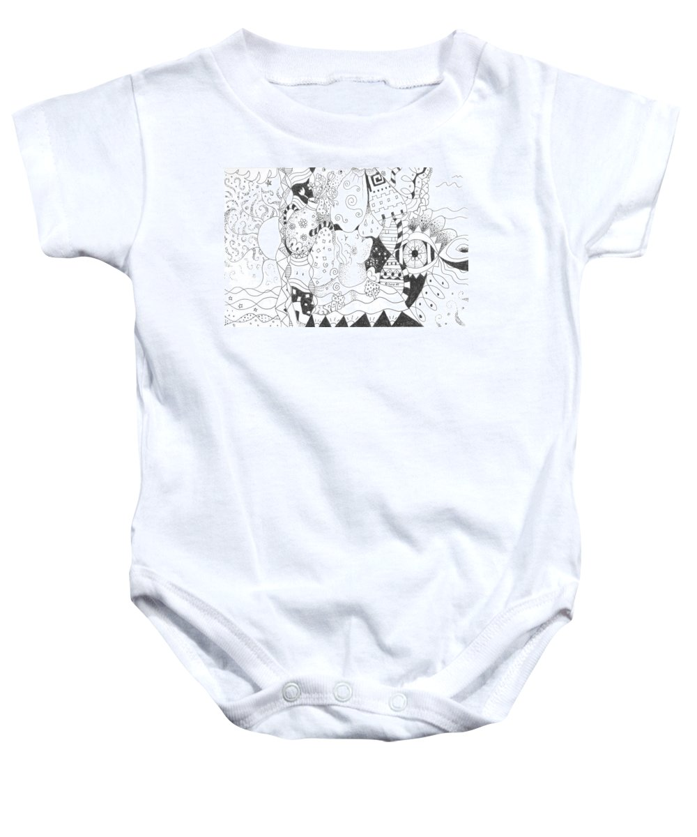 Blessings Baby Onesie featuring the drawing Endless Blessings by Helena Tiainen