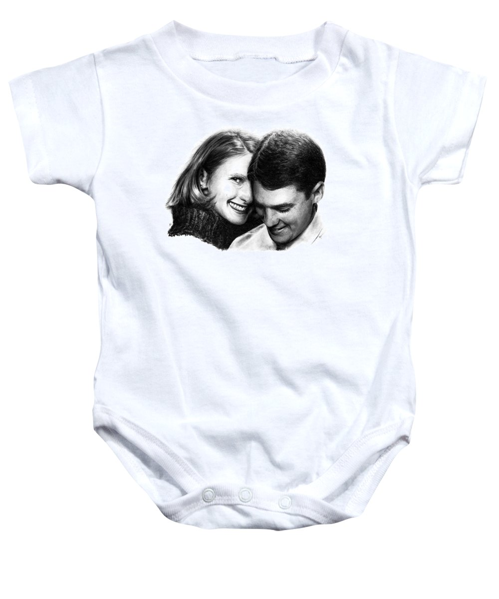 Portrait Baby Onesie featuring the drawing Engaged by Rachel Christine Nowicki