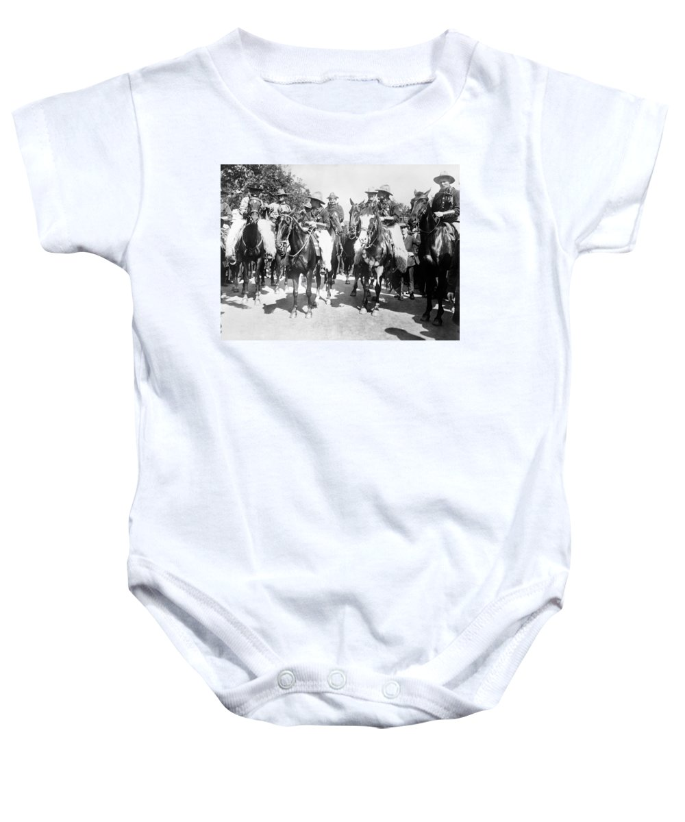 1890 Baby Onesie featuring the photograph England: Cowboys, C1900 by Granger