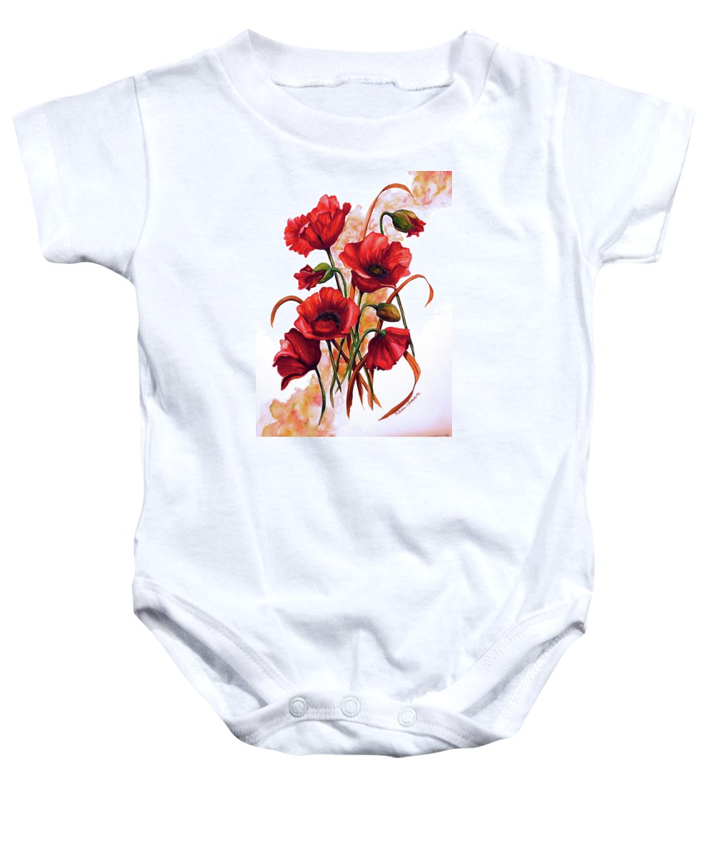 Red Poppies Paintings Floral Paintings Botanical Paintings Flower Paintings Poppy Paintings Field Poppy Painting Greeting Card Paintings Poster Print Painting Canvas Print Painting  Baby Onesie featuring the painting English Poppies 2 by Karin Dawn Kelshall- Best