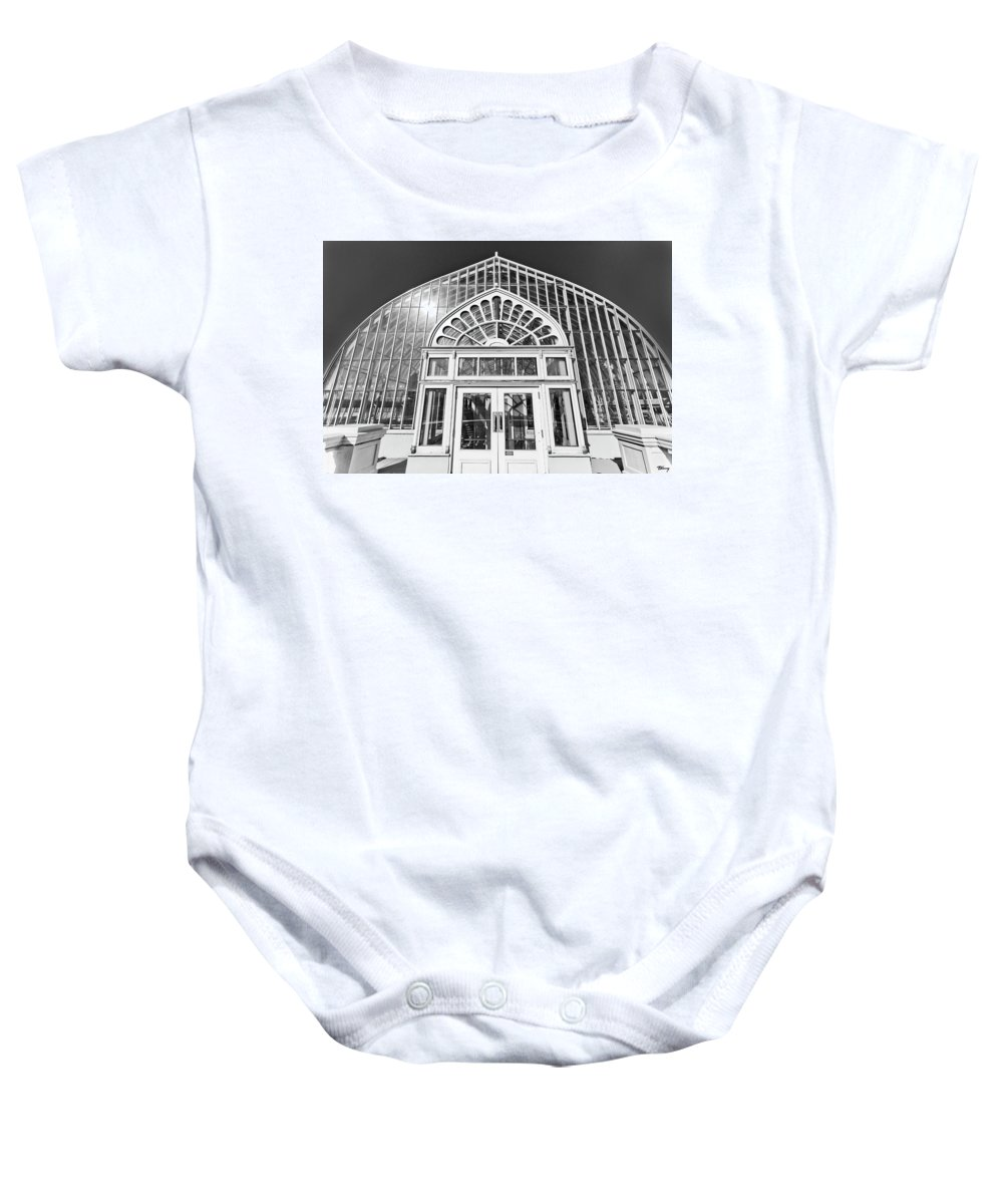 Black And White. Building Baby Onesie featuring the photograph Entering The Greenhouse by Brian Kenney