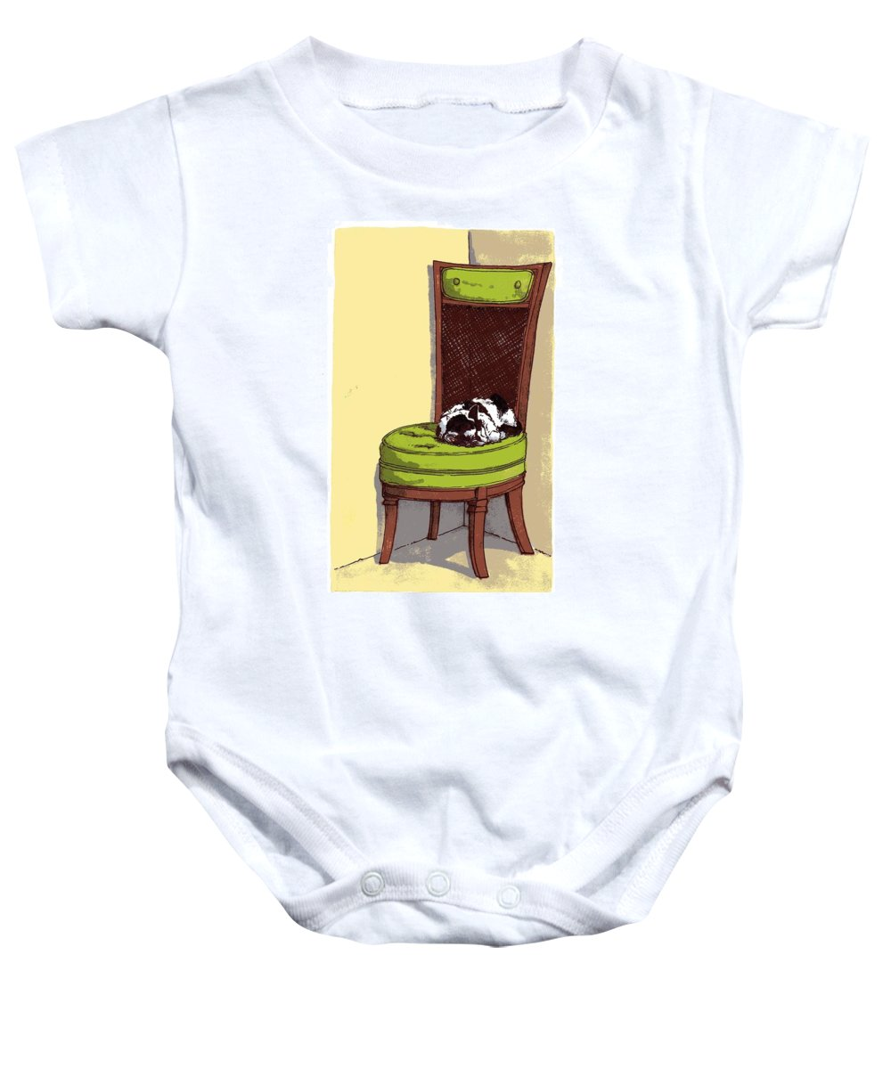 Cat Baby Onesie featuring the drawing Ernie And Green Chair by Tobey Anderson