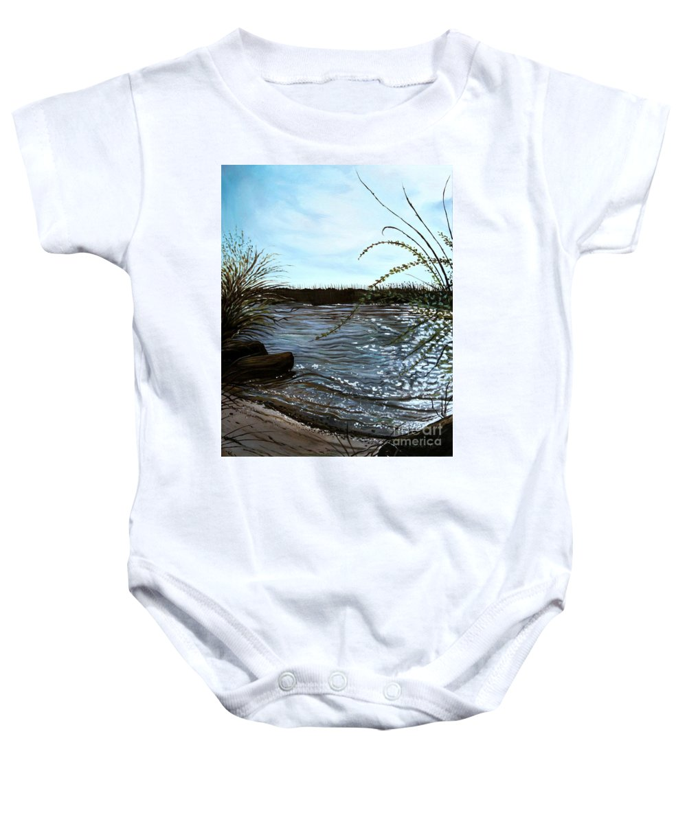 Landscape Baby Onesie featuring the painting Escape With Me by Elizabeth Robinette Tyndall